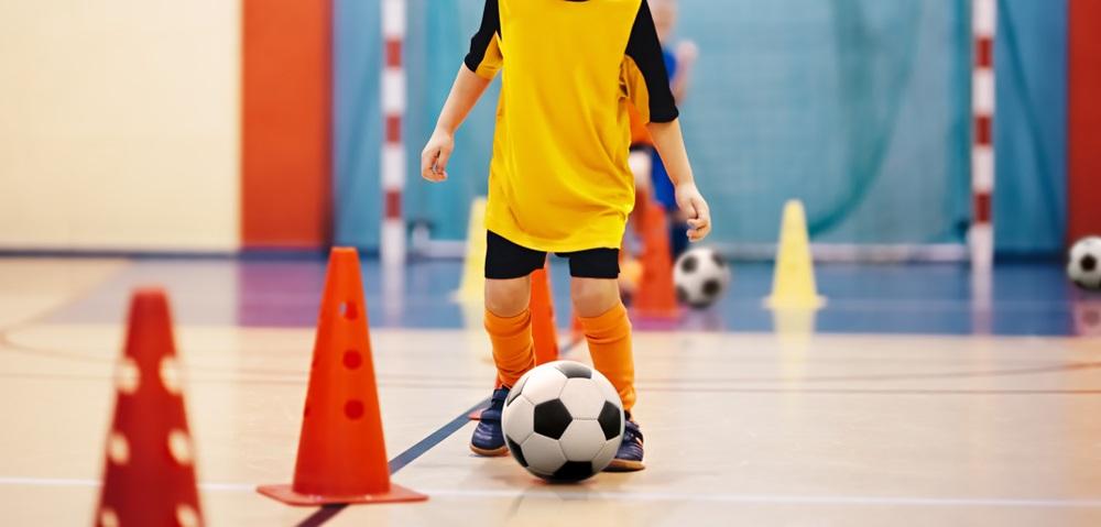 Soccer training dribbling cone drill