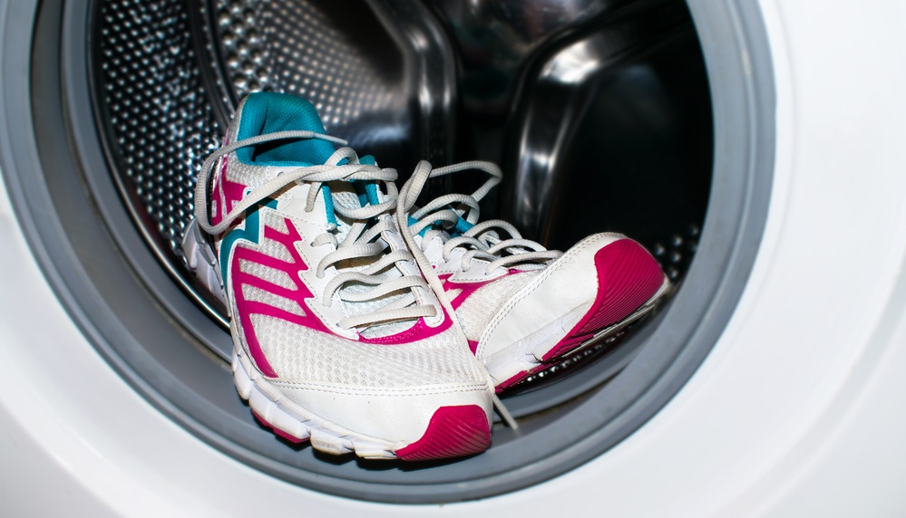 white and pink sneakers wash in the washer